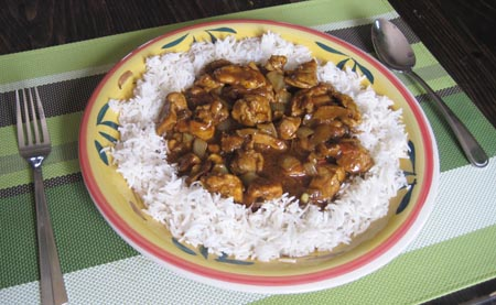 Madras Chicken Curry over Basmati rice